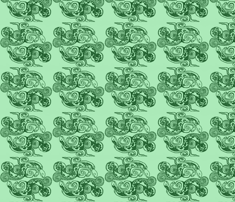 Mayan_snakes on green fabric by m__elizabethblair on Spoonflower - custom fabric