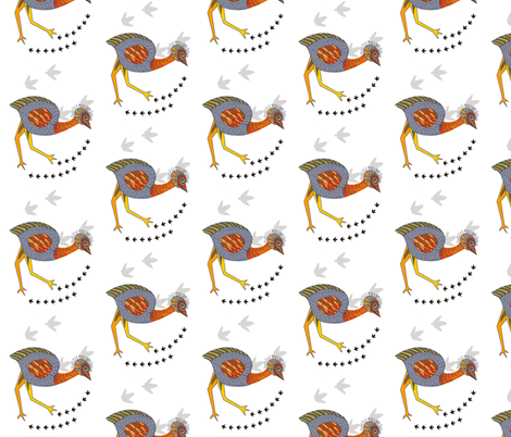Emu on white - smaller scale 493 fabric by wiccked on Spoonflower - custom fabric