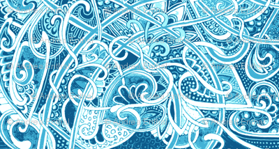 Big Blue Romantic Tangle of Dots and Hearts