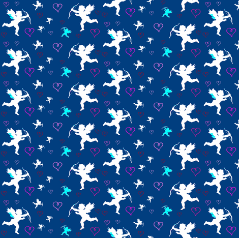 Cupids and Hearts fabric by robin_rice on Spoonflower - custom fabric