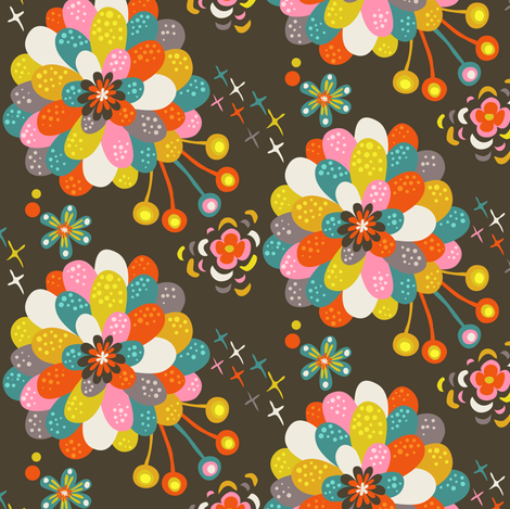 Year of the Snake coordinating fabric - dahlia fabric by irrimiri on Spoonflower - custom fabric