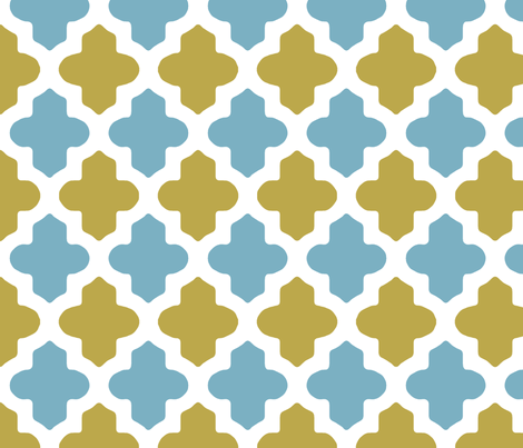 Moroccan Quatrefoil in Blue and Sage fabric by fridabarlow on Spoonflower - custom fabric