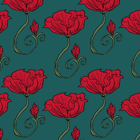 Dark Poppy fabric by pond_ripple on Spoonflower - custom fabric