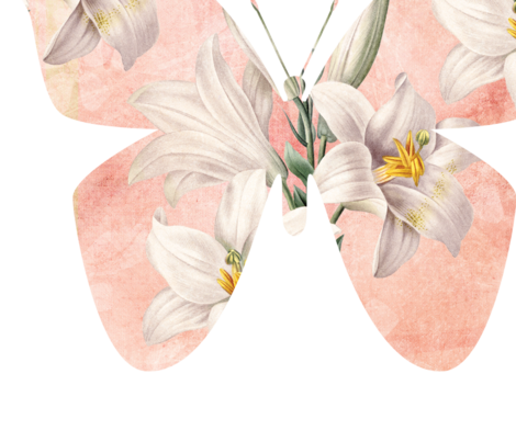 Peach Butterfly with Lilies fabric by peacefuldreams on Spoonflower - custom fabric