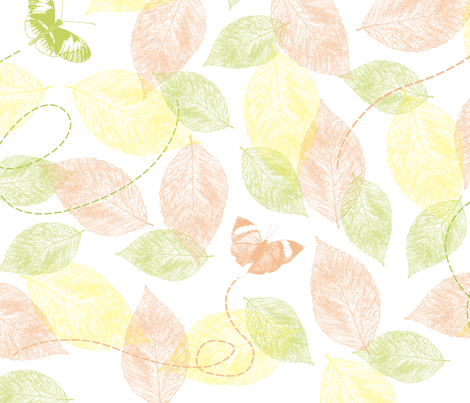 Butterflies and Leaves fabric by peacefuldreams on Spoonflower - custom fabric