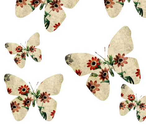 Anemone Floral Butterflies fabric by peacefuldreams on Spoonflower - custom fabric