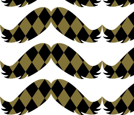Gold and Black Diamonds Mustache fabric by peacefuldreams on Spoonflower - custom fabric