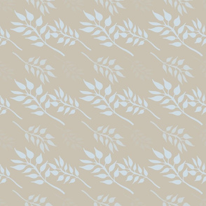 Cream with Blue Leaves