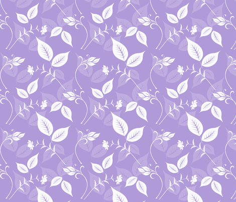 Lilac and White Floral with Leaves fabric by peacefuldreams on Spoonflower - custom fabric