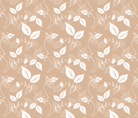 Peach and White Floral with Leaves fabric by peacefuldreams on Spoonflower - custom fabric