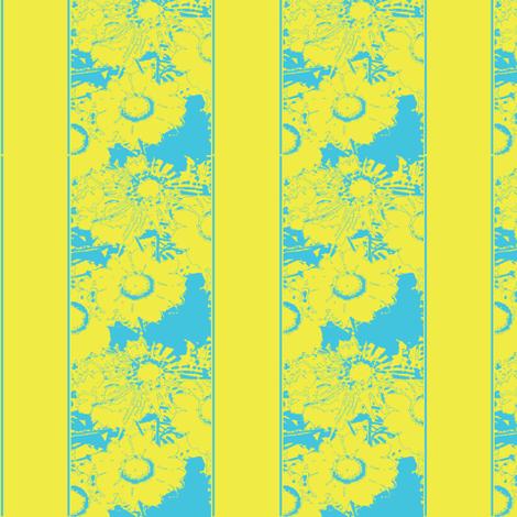 Daisy stripes, yellow & blue fabric by nalo_hopkinson on Spoonflower - custom fabric