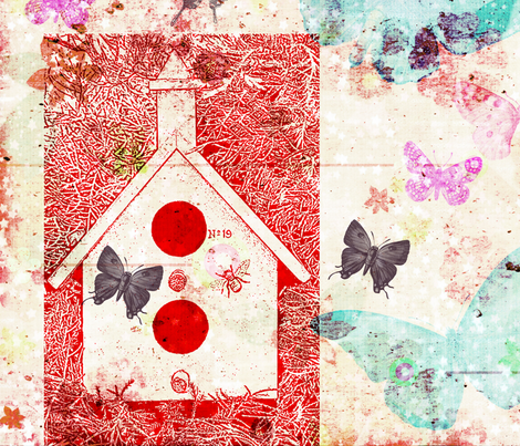 Butterflies Bird House fabric by peacefuldreams on Spoonflower - custom fabric