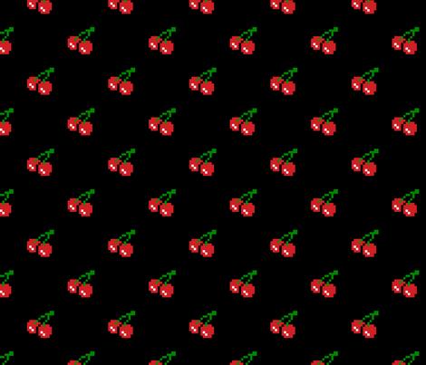 8 Bit Cherry - Black fabric by craft_geek_or_die on Spoonflower - custom fabric