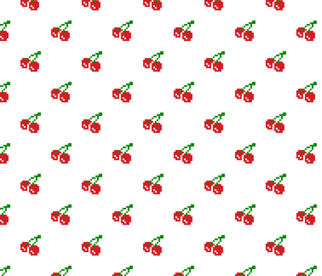 8 Bit Cherry - White fabric by craft_geek_or_die on Spoonflower - custom fabric