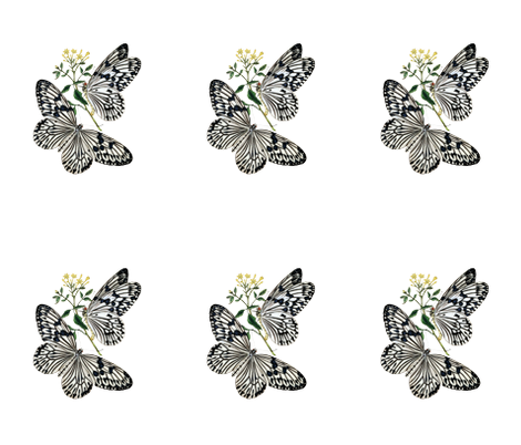 Vintage Black and White Butterflies fabric by peacefuldreams on Spoonflower - custom fabric