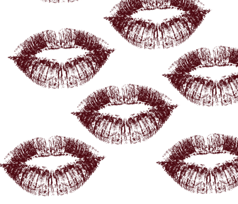 Red Lips Kiss fabric by peacefuldreams on Spoonflower - custom fabric
