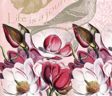 Romantic Pink Magnolia Song Bird fabric by peacefuldreams on Spoonflower - custom fabric