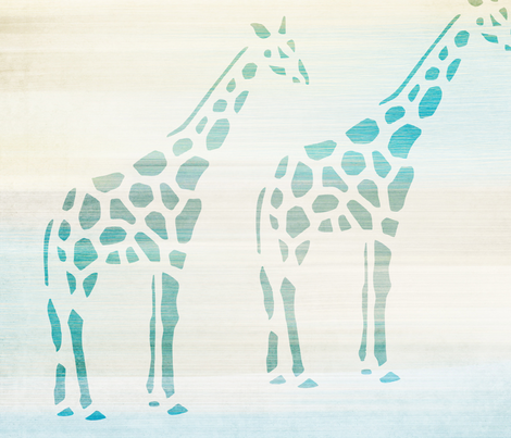 Aqua Giraffes fabric by peacefuldreams on Spoonflower - custom fabric