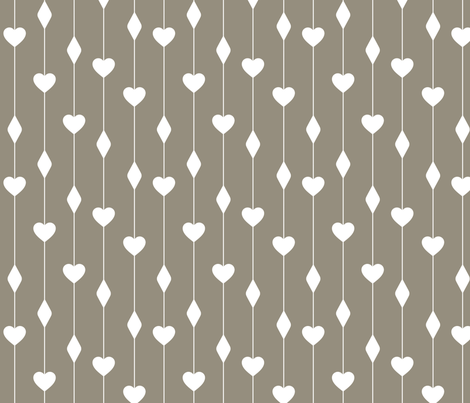 Brown Cocoa Hearts and Diamonds fabric by peacefuldreams on Spoonflower - custom fabric