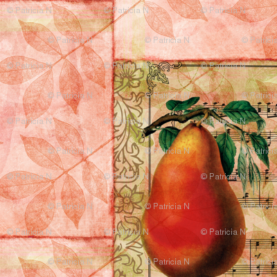 Peach Pear and Leaves Vintage