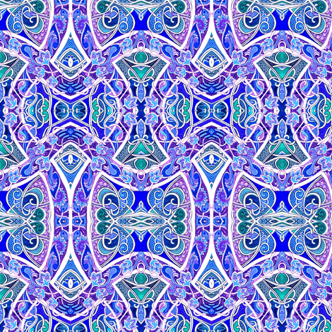 Vine Entwined Paths to Blue and Purple fabric by edsel2084 on Spoonflower - custom fabric