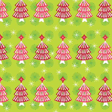 Red Festive Trees fabric by robyriker on Spoonflower - custom fabric