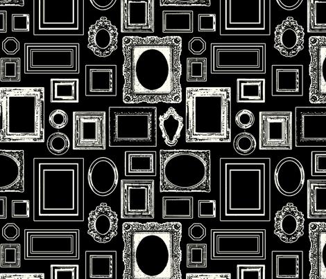 salon wall, black / white fabric by circlealine on Spoonflower - custom fabric