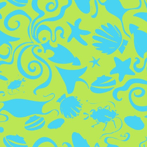 Sea creatures blue green