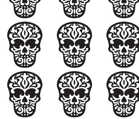 Skull Damask  fabric by mariafaithgarcia on Spoonflower - custom fabric