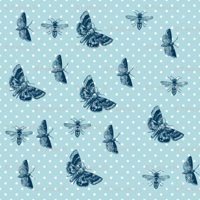 Polka Dots Butterflies and Bees