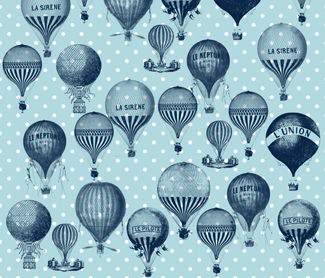 Blue Vintage Hot Air Balloons fabric by peacefuldreams on Spoonflower - custom fabric