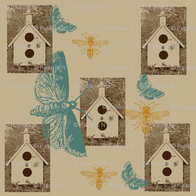 Bird Houses with Butterflies and Bees