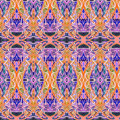 Moonlight Stroll (orange and purple psychedelic paths) fabric by edsel2084 on Spoonflower - custom fabric