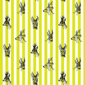 Vintage Deer Fabric Green Stripes