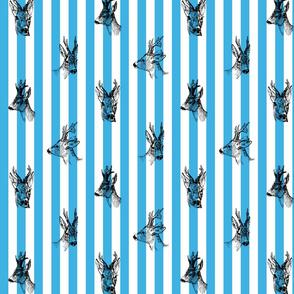 Vintage Deer Fabric Blue Stripes