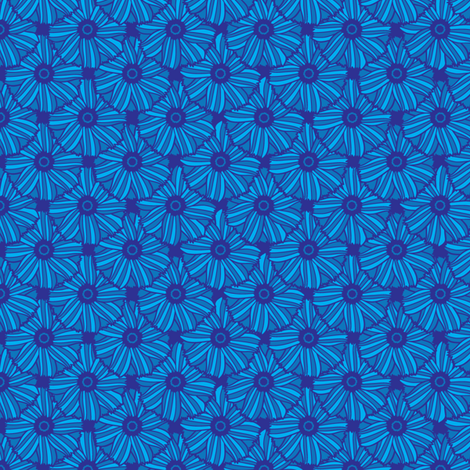 Boho Blossoms Tile (Blue) fabric by robyriker on Spoonflower - custom fabric