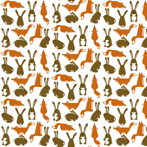 foxes and rabbits fabric by renarde on Spoonflower - custom fabric