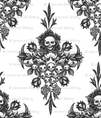 skullflower Damask - white