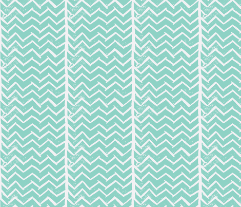 Chevron - Hand Carved Stamp - Med Turquiose fabric by owlandchickadee on Spoonflower - custom fabric