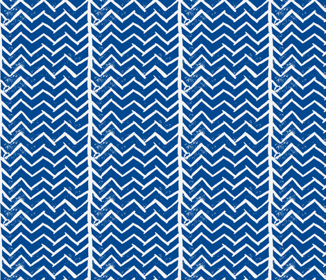 Chevron - Hand Carved Stamp - Dk. Blue fabric by owlandchickadee on Spoonflower - custom fabric