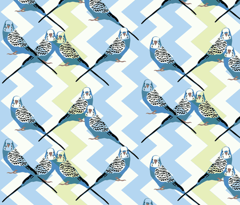 Parakeets Looking at You - Blue - Blue-Green Chevron Background fabric by owlandchickadee on Spoonflower - custom fabric