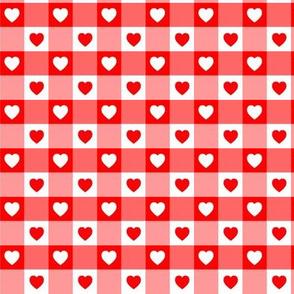 Coeurs Vichy rouge
