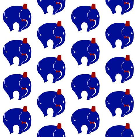, BowTie with Fez on   Blue elephant. fabric by starrloy on Spoonflower - custom fabric