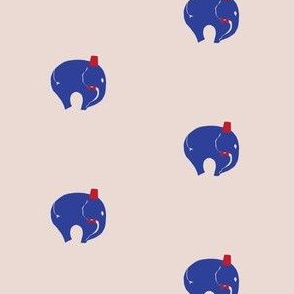 11,BowTie with Fez, Blue StarrElephant on Pink