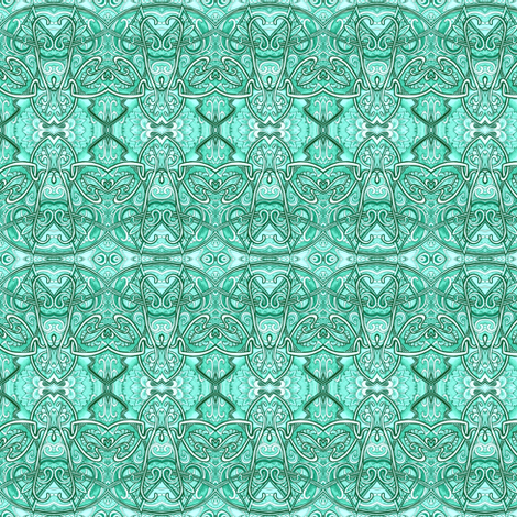 Aqua Art Nouveau Scallops (horizontal stripe) fabric by edsel2084 on Spoonflower - custom fabric