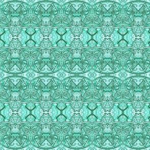 Aqua Art Nouveau Scallops (horizontal stripe)