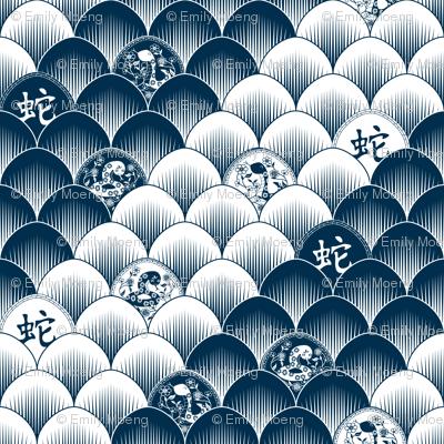 Snake scales - blue/white