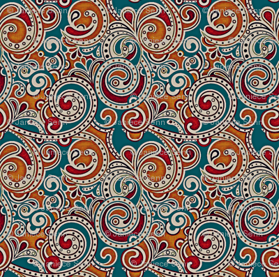 Paisley on Teal