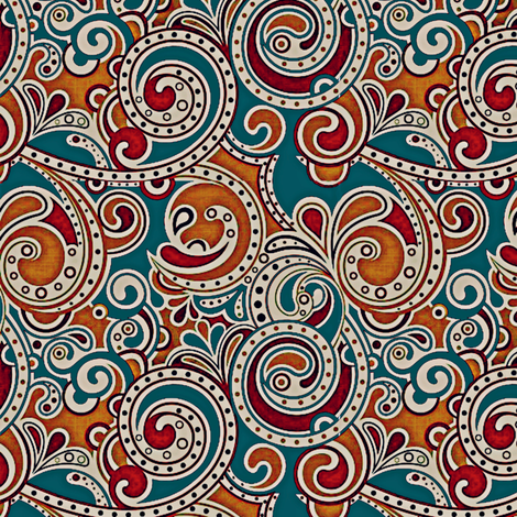 Paisley on Teal fabric by whimzwhirled on Spoonflower - custom fabric