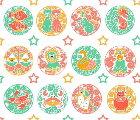 Zodiac_Spoon_White fabric by linda_loper_designs on Spoonflower - custom fabric